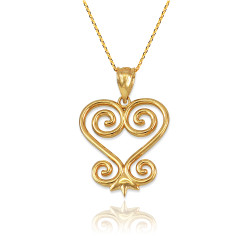 African Adinkra Sankofa Gold Necklace