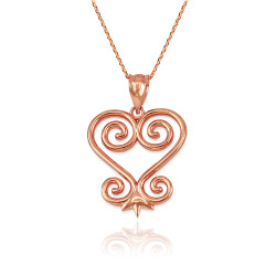 African Adinkra Sankofa Pendant Necklace in Rose Gold