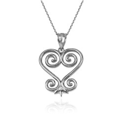 African Adinkra Sankofa Heart Pendant Necklace in Sterling Silver