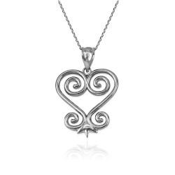 African Adinkra Sankofa Heart Pendant Necklace in Sterling Silver