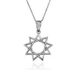 White Gold Baha'i Nine Point Star Pendant Necklace