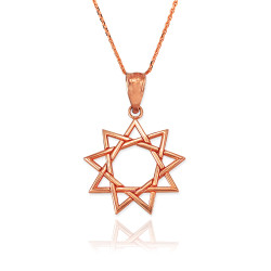 Rose Gold Baha'i Nine Point Star Pendant Necklace
