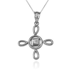 White Gold Adinkra SunSum African Pendant Necklace