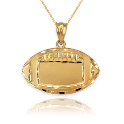Satin DC Yellow Gold Football Pendant Necklace
