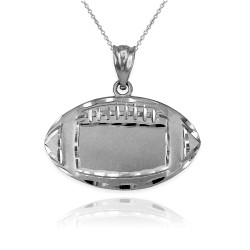 Satin DC White Gold American Football Pendant Necklace
