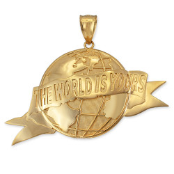 THE WORLD IS YOURS Gold Pendant