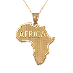 Gold Africa Pendant Necklace