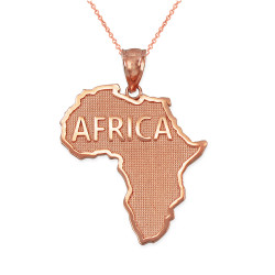 Africa Map Rose Gold Pendant Necklace