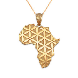 Africa Map Flower of Life Gold Pendant Necklace