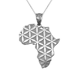 Africa Map Flower of Life White Gold Pendant Necklace