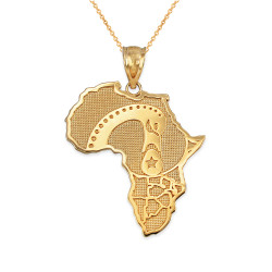 Yellow Gold Africa Map Adinkra Sankofa Pendant Necklace