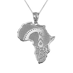 Silver Africa Map Adinkra Sankofa Bird Necklace