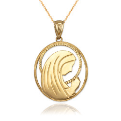 Virgin Mary Gold Pendant Necklace