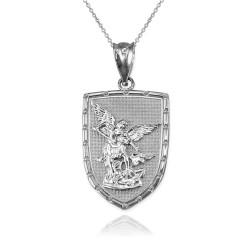 White Gold St. Michael Shield Pendant Necklace