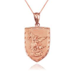 Rose Gold St. Michael Shield Pendant Necklace