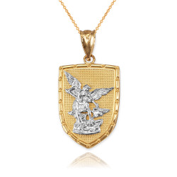 Two-Tone Gold St. Michael Shield Pendant Necklace