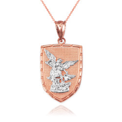 Two-Tone Rose Gold St. Michael Shield Pendant Necklace