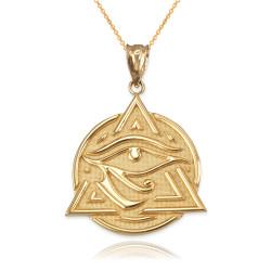 Yellow Gold Eye of Horus Illuminati Pendant Necklace