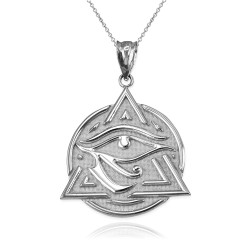 White Gold Eye of Horus Illuminati Pendant Necklace