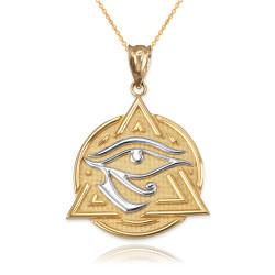 Two-Tone Gold Eye of Horus Illuminati Pendant Necklace