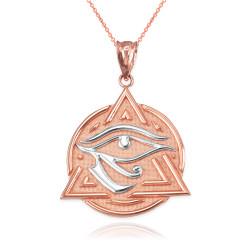 Two-Tone Rose Gold Eye of Horus Illuminati Pendant Necklace