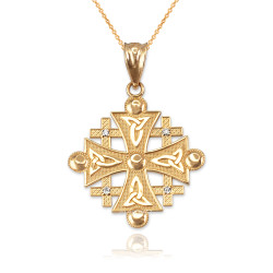 Yellow Gold Jerusalem Cross Diamond Pendant Necklace