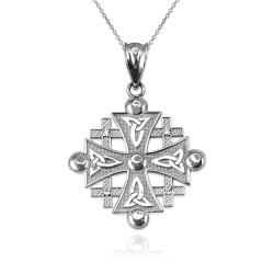 Sterling Silver Jerusalem Cross CZ Pendant Necklace