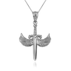 White Gold Hot Wings Diamond Sword Pendant Necklace