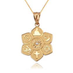 Yellow Gold Lotus of Peace Diamond Pendant Necklace