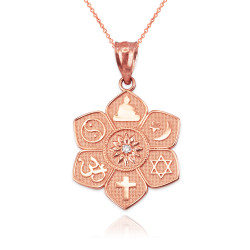 Rose Gold Lotus of Peace Diamond Pendant Necklace