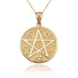 Yellow Gold Multicultural Pentacle Medallion Pendant Necklace