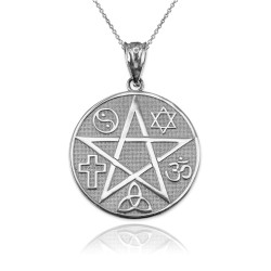 White Gold Multicultural Pentacle Medallion Pendant Necklace