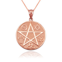 Rose Gold Multicultural Pentacle Medallion Pendant Necklace