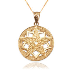 Yellow Gold Pentagram Medallion Pendant Necklace