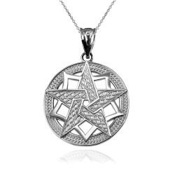 White Gold Pentagram Medallion Pendant Necklace