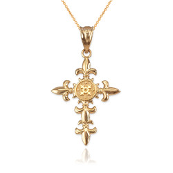 Yellow Gold Fleur de Lis Cross Pendant Necklace