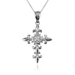 Sterling Silver Fleur de Lis Cross Pendant Necklace