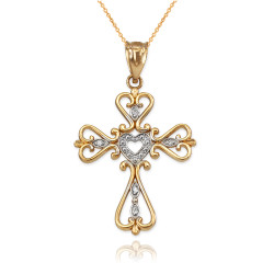 Gold open heart diamond cross necklace