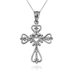 Open Heart Diamond Cross White Gold Pendant Necklace