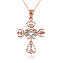 Open Heart Diamond Cross Rose Gold Pendant Necklace