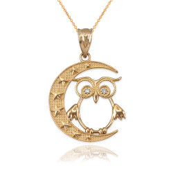 Gold Night Owl Diamond Pendant Necklace