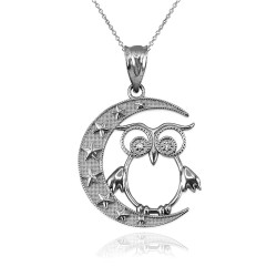 White  Gold Night Owl Diamond Pendant Necklace