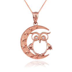 Rose Gold Night Owl Diamond Pendant Necklace
