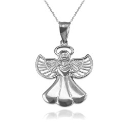 White Gold Filigree Love Angel Pendant Necklace