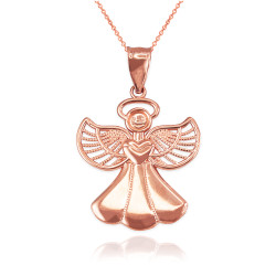 Rose Gold Filigree Love Angel Pendant Necklace