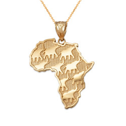 Yellow Gold African Elephants Necklace
