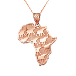 Rose Gold African Elephants necklace.