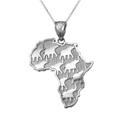 White Gold African Elephants Necklace