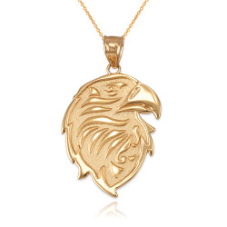Gold eagle head necklace