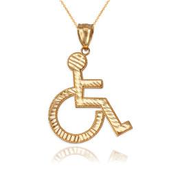 Gold Handicap Wheelchair Pendant Necklace
